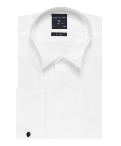 Profuomo Smoking Skjorte - Klassisk - Hvid - Slim Fit - Twill - Double Cuff (1)