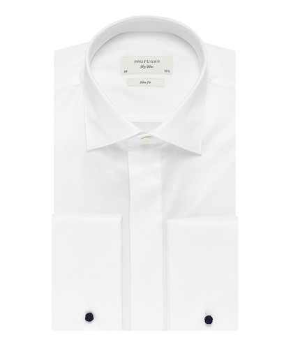 Profuomo Smoking Skjorte - Hvid - Slim Fit - Twill - Double Cuff (1)